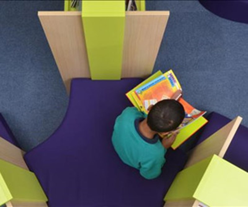 Boy reading book in school library