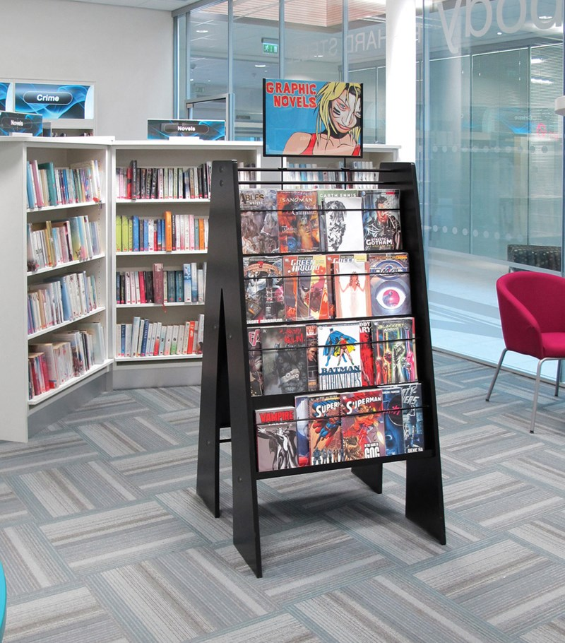 Unit for displaying graphic novels in libraries