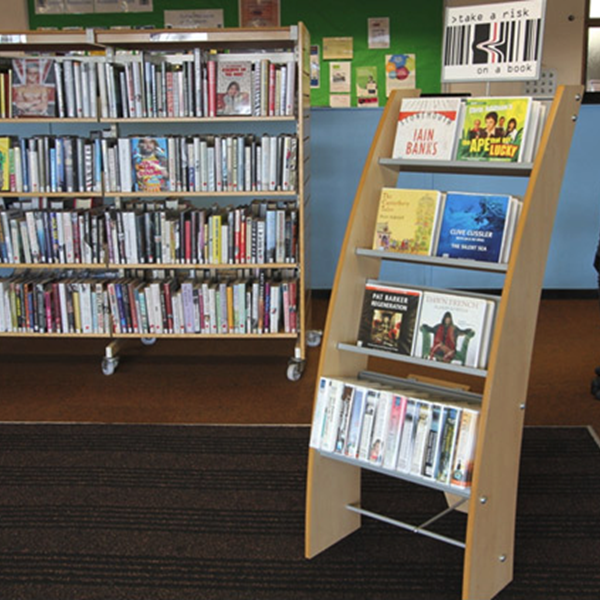 Correct way to position library book display unit